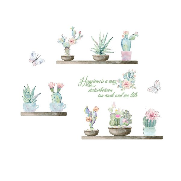 Cactus Pot Culture Mur Décor Plante Verte Autocollant Mural pour Chambre D'enfant Chambre Décor À La Maison Botanique Affiche Murale Papier Peint Sticker Mural