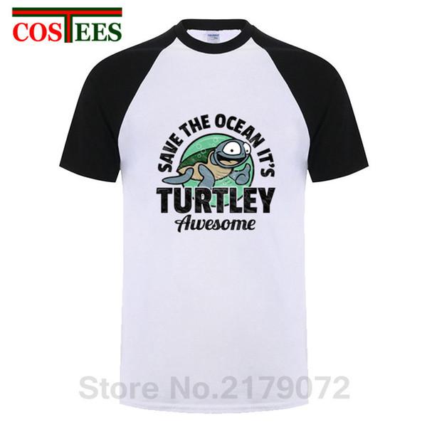 sale retailer buy best shop best sellers Vintage Save The Ocean It'S Turtley Awesome T Shirt Men Novelty Turtle  Sealife T Shirt Homme Short Sleeve O Neck Retro Tee Shirt T Shirt Shirt  Designs ...