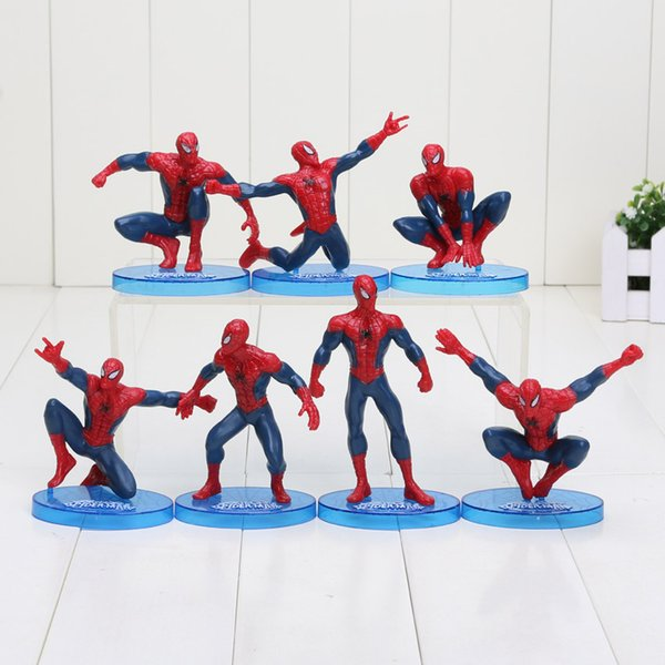 7pcs / Set 6 -11cm Superheroes Avengers Spider Man Figurine Spiderman Toys Modèle