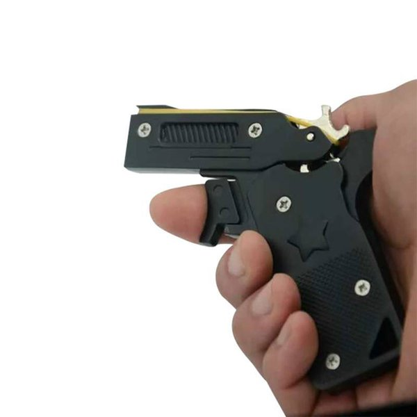 2018 Nueva Llegada de Aleación de Zinc Mini Plegable Banda de Goma Pistola Modelo de Juguete Banda de Pelo Arco Decoración de Escritorio
