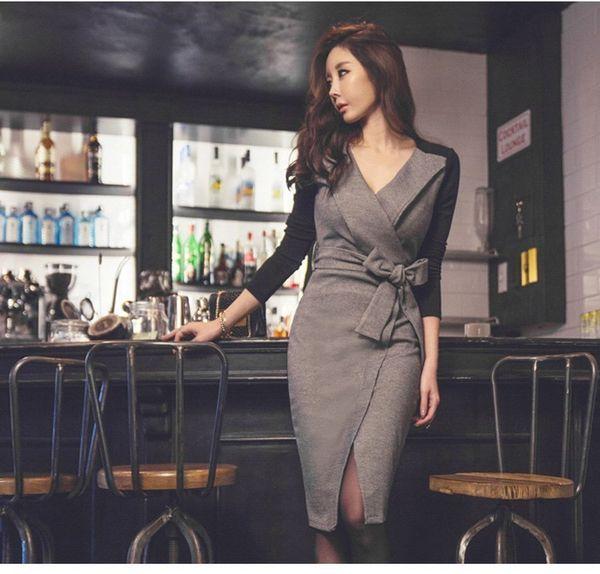 Business Elegant Vestido Da Festa New Korean Ol Belt Waist V Neck Slim Dress Female Dresses