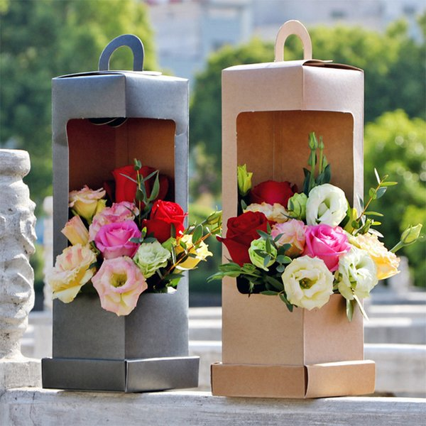 Lighthouse Shape Flowers Box with Handle Bouquet Floral Gift Packing Box Valentine's Day Party Decoration