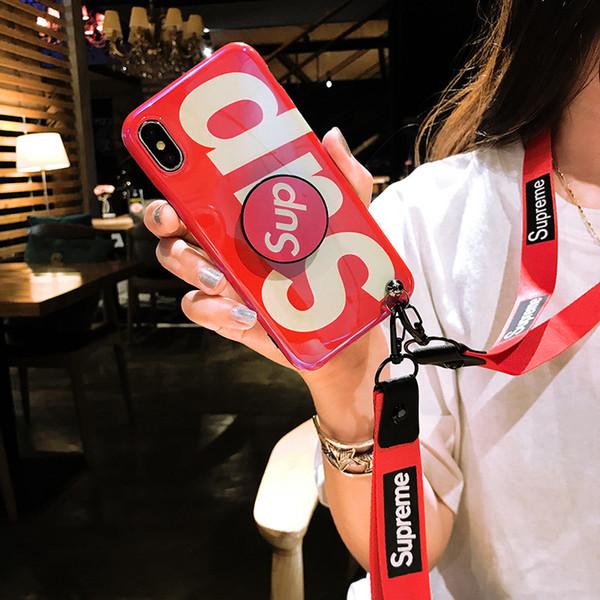 Mode pour iphone 11 XR pro XS MAX X 8 7 + 6 6s plus la couverture de coussin gonflable support 3d rayon bleu avec cordon souple enveloppe de sac de téléphone de silicium Ritozcase