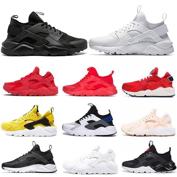 Acheter Nike Air Huarache OFF WHITE 2019 Marque Ultra Huarache Run 1.0 4.0 Rayure Noir Gris Bronzine Chaussures De Course Nouveau Hommes Femmes
