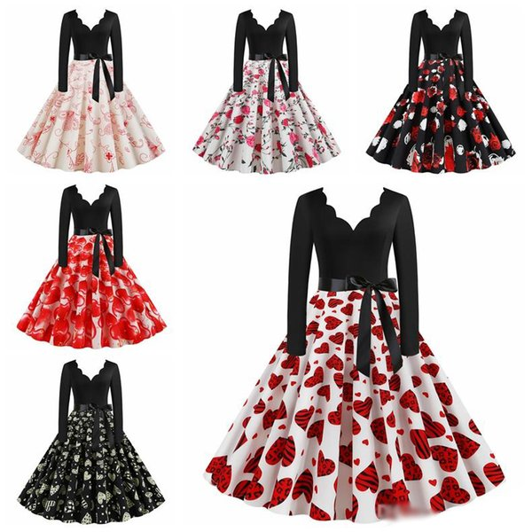 2019 Lady Girls Vintage Plus Size Dress Women Valentines Day V Neck Sashes  Rose Printed Pleated Female Dresses Party Night Dress 3XL From ...