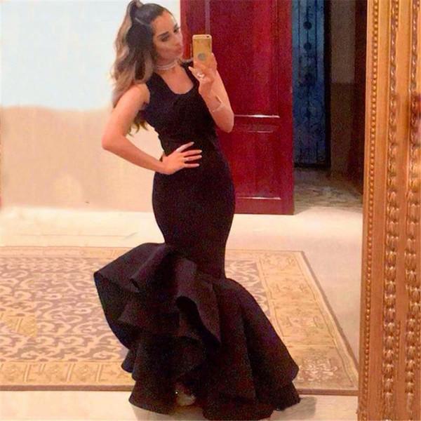 2019 robes de bal de sirène simples noires à glissière dos sans manches robes de soirée trompette trompette pas cher train robe de soirée formelle sur mesure