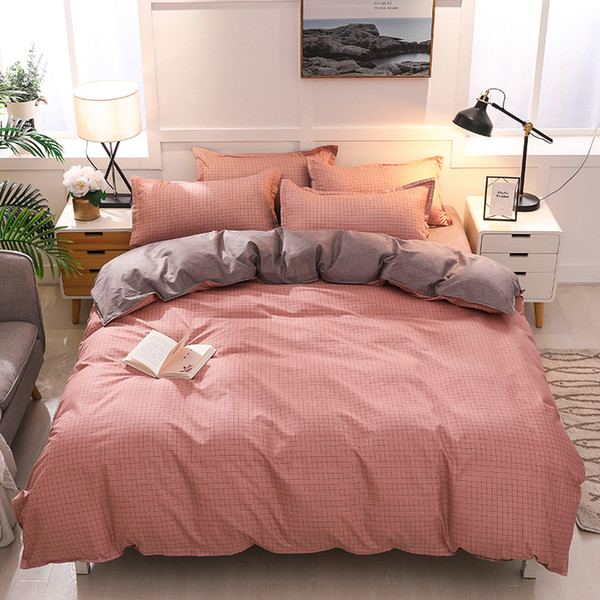 Bedding Set Pink Plaid 4 Piece Modem European style 2019 new MENGZIQIAN Fade and Stain Resistant Fashion Multicolor High Quality HL