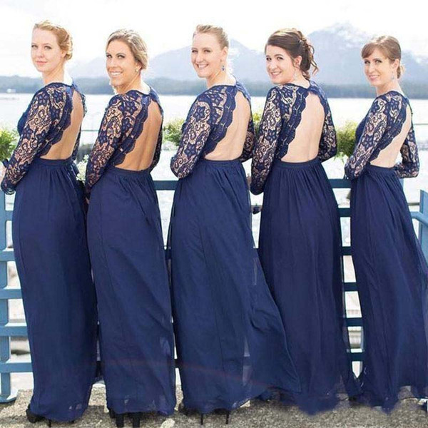 top popular Country Long Sleeve Lace Bridesmaid Dresses 2020 Hollow Back Chiffon Long Wedding Guest Gowns Maid of Honor Dress Plus Size 2021