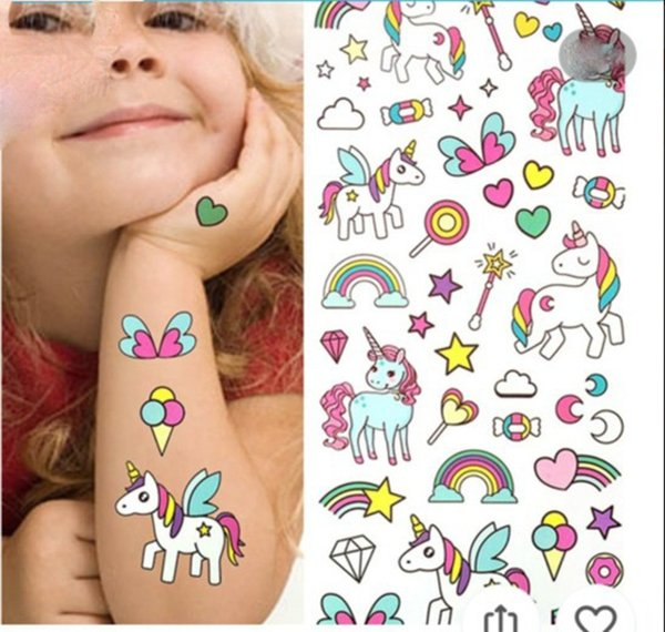 Waterproof temporary fake tattoo stickers pink unicorn horse cartoon design kids child body art make up tools B11