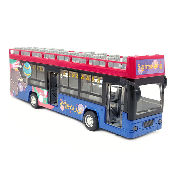 1:32 Scale Diecast Alloy Metal Car Model For Double-decker Sightseeing Travel Tourist Bus Collection Vehicle Sound&Light Toys