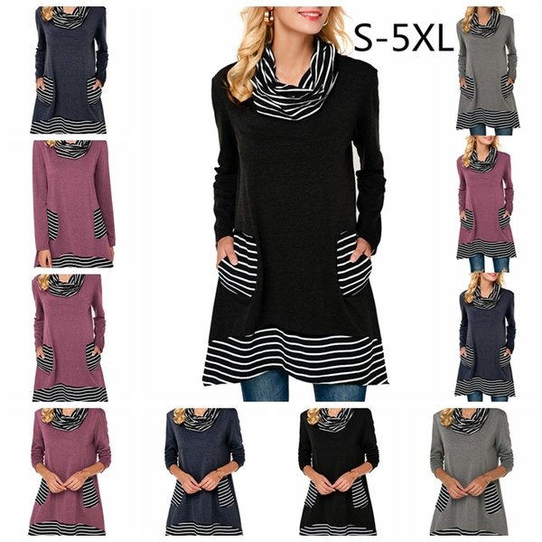 2019 European spring and summer hot sale fashion striped long-sleeved pile collar pocket T-shirt, support mixed batch