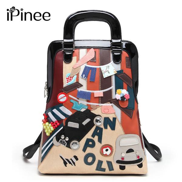 women designer iPinee Multifunction Casual Women Cartoon Design Leather Printing Shoulder Messenger Bags School Bag For Girls