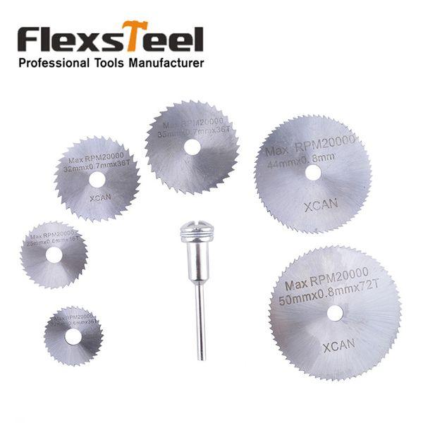 steel knife blades Flexsteel 7pcs HSS High Speed Steel Circular Saw Blades Set with Mandrels Shank for Metal Dremel Rotary Tool