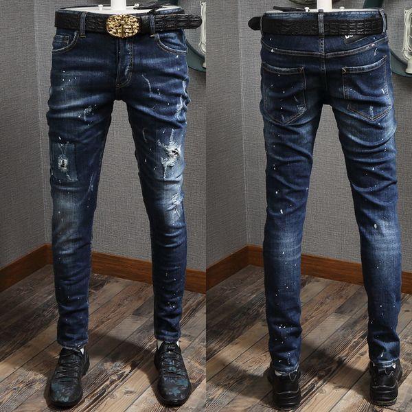 Moda-Klasik 5 Cepli Mavi Jeans Erkek, Boya Noktaları Ve Dikiş Detayı 2019 Sıcak Ve Yeni Kovboy