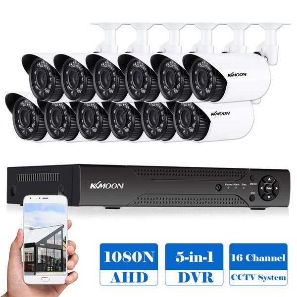 KKmoon 16CH 1080P 5-in-1 Digital Video Recorder +12*720P AHD Waterproof IR CCTV Camera+12*60ft Cable for CCTV Security System