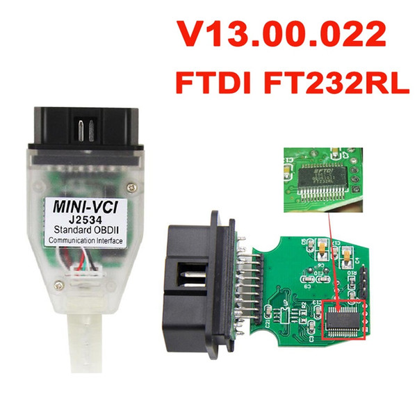 Fcarobd 1pc V13.00.022 MINI VCI Interface FOR TOYOTA TIS Techstream minivci FT232RL Chip J2534 OBDII OBD2 Diagnostic Tool