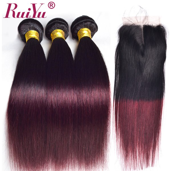 Ruiyu Ombre Brezilyalı Düz Saç Örgü Demetleri Ile Kapatma 1B / Bordo Iki Ton Renkli Remy İnsan Saç Atkı Ile Kapatma 99J Şarap Kırmızı