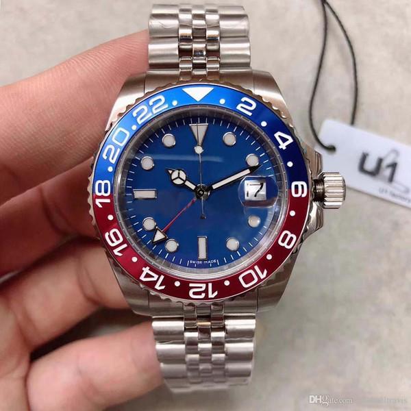 Классические часы с независимой регулировкой GMT серии 126710 синий циферблат 40 мм сапфировое стекло высокого качества с автоматическим механическим юбилейный спорт