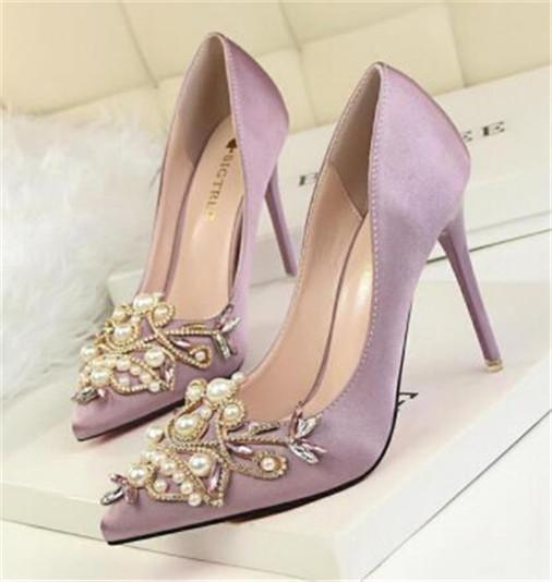 Multicolored cyrstal wedding shoes with matching bags fashion shoes womens Pumps gifts heels Party dress shoe big size