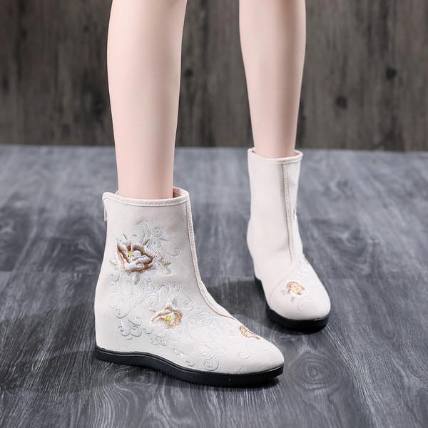 Bayanlar Geleneksel Hanfu Artan SexeMara Çin Nakış Ayakkabı Kadınlar Bilek Boots İşlemeli Pekin Kumaş Ayakkabı