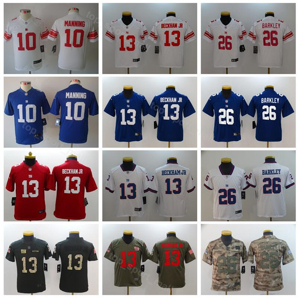 best cheap e162a e5266 2019 Youth New York Giants Jerseys 10 Eli Manning 13 Odell Beckham Jr 26  Saquon Barkley Football Kids Blue White Red Camo Green Children From ...