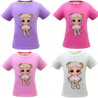 2019 4 colors Baby Girls Surprise T-shirts Cotton Hiphop Funny Summer Shirt Hot Cartoon Cosplay Clothes Home Clothing
