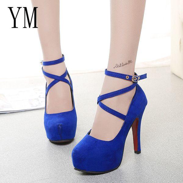 Designer Dress Shoes Hot Woman Pumps Cross-tied Ankle Strap Wedding Party Platform dress Women High Heels Suede ladies Big 42