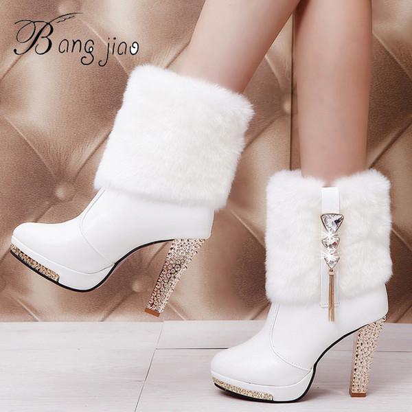 BANGJIAO Bling High Heels Rabbit Fur Boots Women Plush Warm Platform Shoes Elegant Crystal Lady Wedding Party High-heeled Shoes