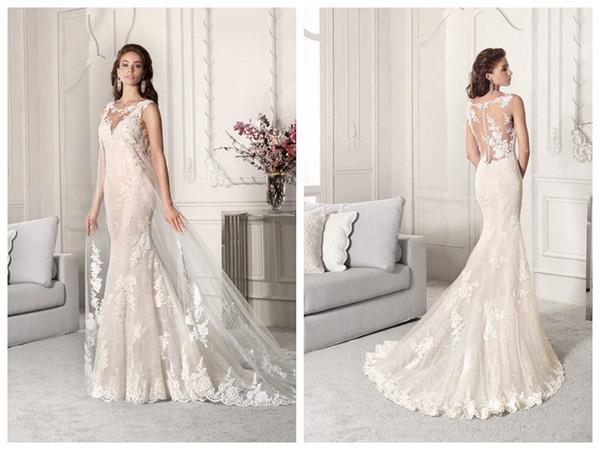 2019 Vestidos de casamento robe de mariée Demetrios 860 Marfim Lace sereia vestido de noiva Sheer Bateau botões feitos sob encomenda feito