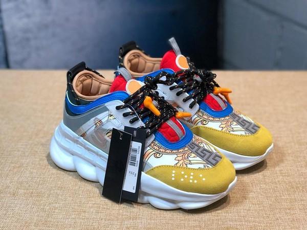 Reacción en cadena de lujo diseñador de moda casual zapato casual entrenador ligero en relieve suela tamaño 5.5-11 in2019
