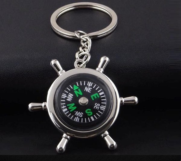 Wheel Compass Key Chain with Chain Tear Drop Shaped Design Designed for Everyday wear