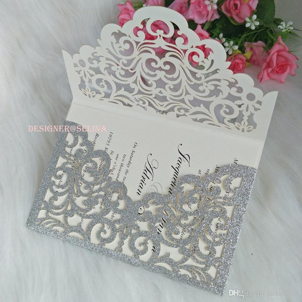 Cordially Inviting -Silver Glitter Pocket Wedding Invitations Full Laser Cut Invitation Jacket for Quinceanera Sweet 16th Birthday