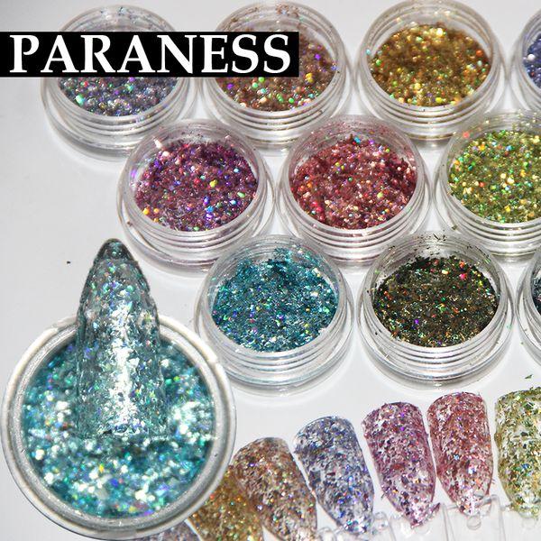 Paraness Nail Glitter Mix Colors DIY Decoración Herramientas Nail Art UV Fine Glitter DustGel Polish Acrylic