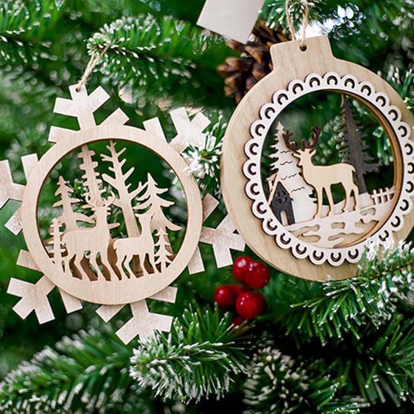 Dropship árbol de navidad de madera pintada colgante 1 del partido de Navidad Pc Elk ciervos decoración colgantes del copo de nieve decoración colgante