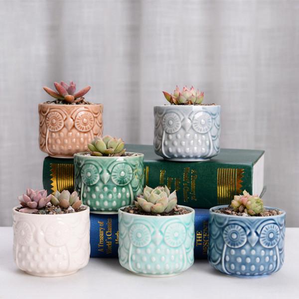 Céramique Hibou Jardin Pots Pépinière Décorative Moderne Plante Grasse Pot Bonsaï Planteurs Livraison DHL Gratuite