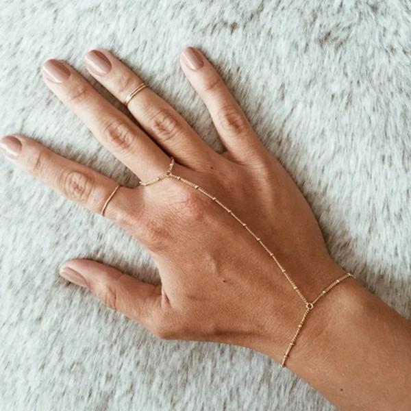 Boho Silver Gold Satellite Chain Slave Bracelet Charm Minimalist Friendship Bracelet Jewelry