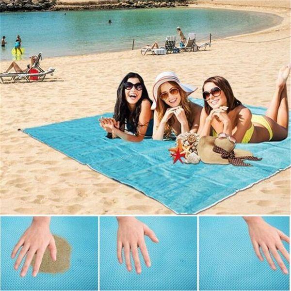 Strandmatte Schnell Trocknend Ripstop Compact Outdoor Stranddecke Tragbare Sand Proof Picknick-Matte für Reisen Camping