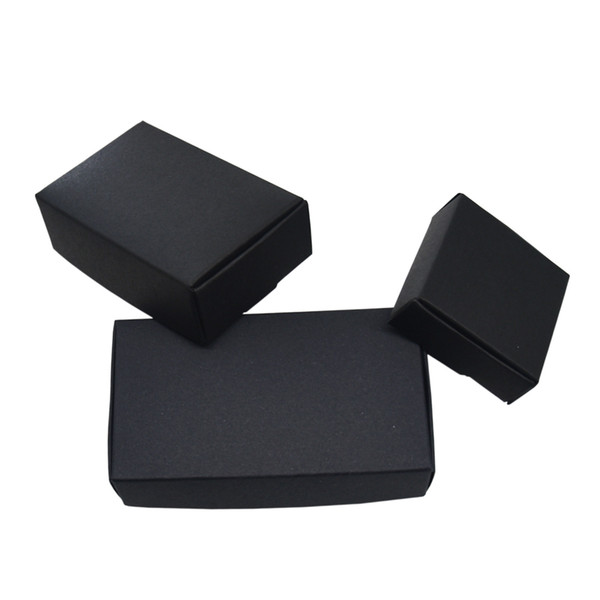 50pcs/lot Various Sizes Black Boutique Package Kraft Paper Box Foldable Craft Paper Boxes for Wedding Jewelry Gift Storage Decoration Carton