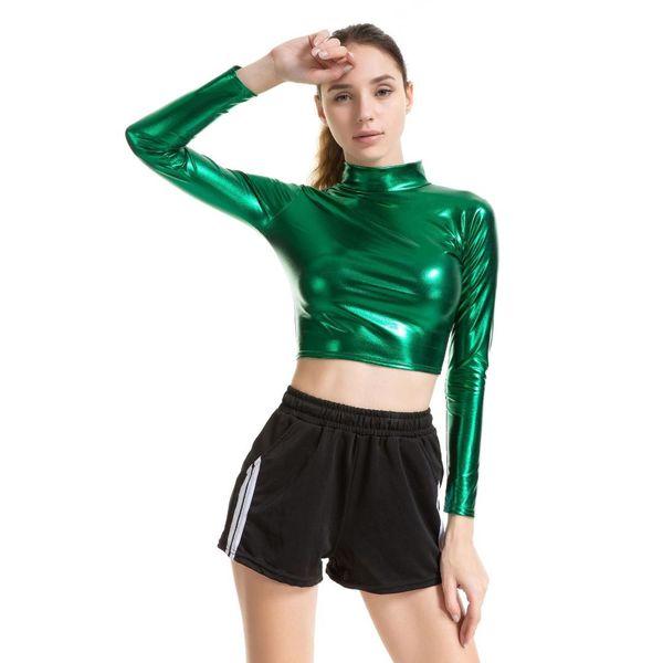 Yeni Kadın Faux Deri PU Tee En Uzun Kollu T gömlek Balıkçı Yaka İnce Seksi T-shirt