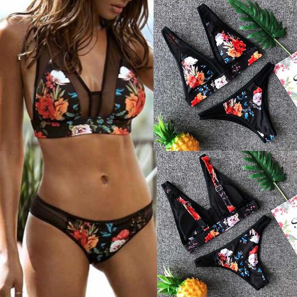 Maillot de bain femme sexy maillot de bain 2019 maillot de bain femmes imprimer mode Push-up rembourré soutien-gorge plage Bikini Set maillot de bain