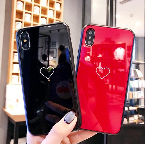 High quality luxury tpu+Tempered Lovers couple Phone Case for iphone X 7 6 6S 8 plus cases Fall-proof tide female