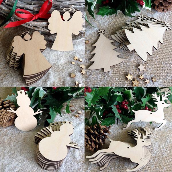 10 stücke Weihnachtsschmuck mit lanyard Weihnachten Holz Dekoration Engel Hängen Anhänger Weihnachtsbaum Dekoration Natale Decorazioni
