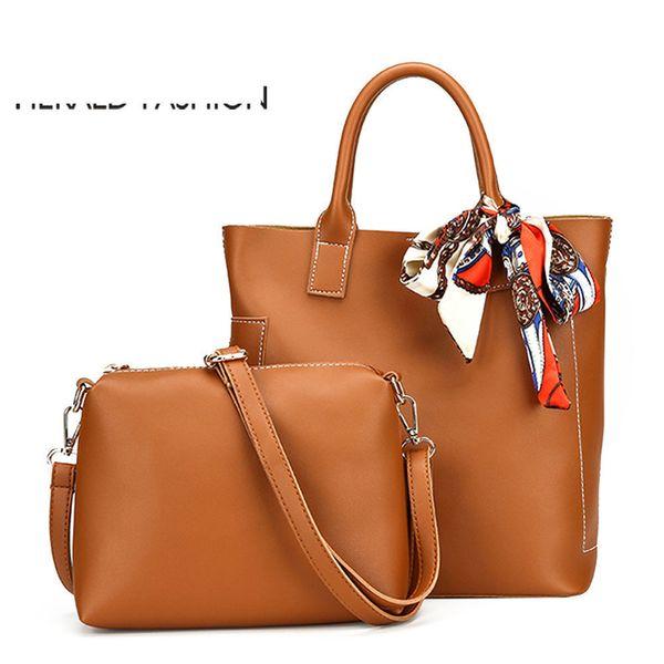 good quality Women Bag Scarf Handbags Ladies Composite Bag Pu Leather Shoulder Bags Brand Designer Casual Large Tote Bag Bolso