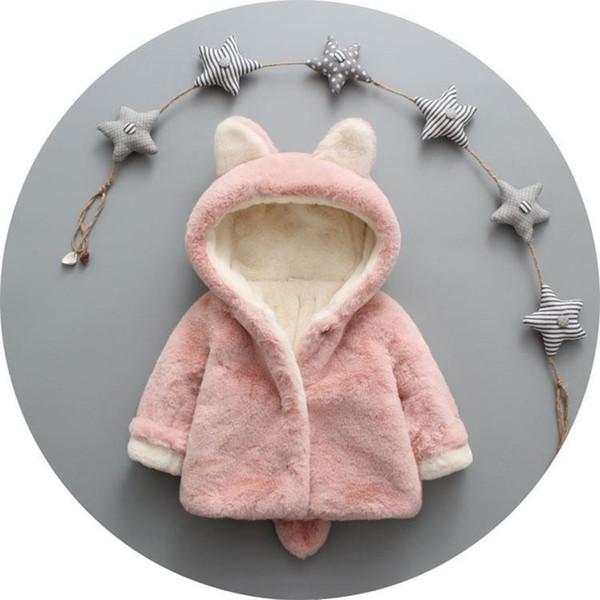 wholesale Boys Girls Winter Thick FauxSlothBears Fur Coat Rabbit Ears Tail Plus Velvet Warm Jackets Baby Cotton Hoodie Outerwear Coat