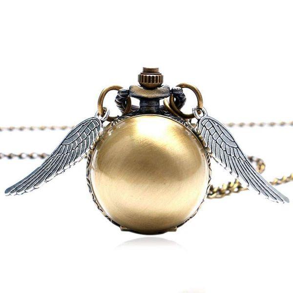 Роскошные Маленькие Милые Снитч Шарообразные Кварцевые Карманные Часы Цепи Крылья Ангела Свитер Ожерелье Сувенирный Подарок для Мужчин Женщин