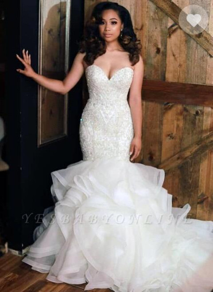 2019 Sexy Sweetheart Organza Mermaid Abiti da sposa Perline Pietre Top A strati Increspature Plus Size Abiti da sposa da sposa robe de mariée BC0586