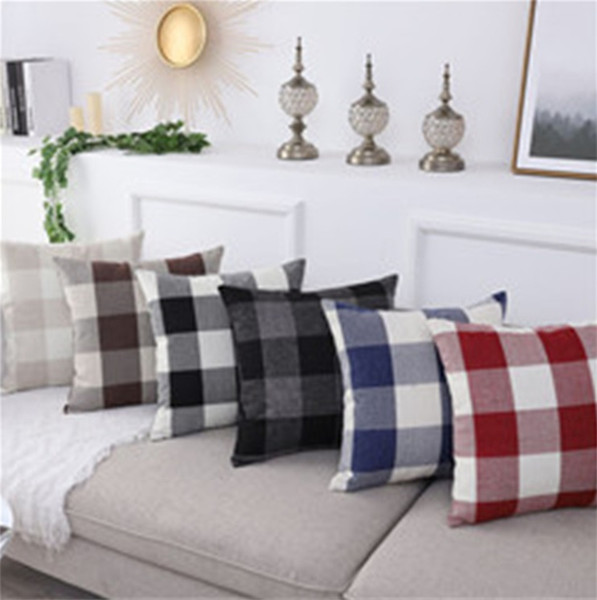 Home Textiles Red striped solid color pillowcase cushion cover pastoral theme pillow cover car office cushion cover 4904