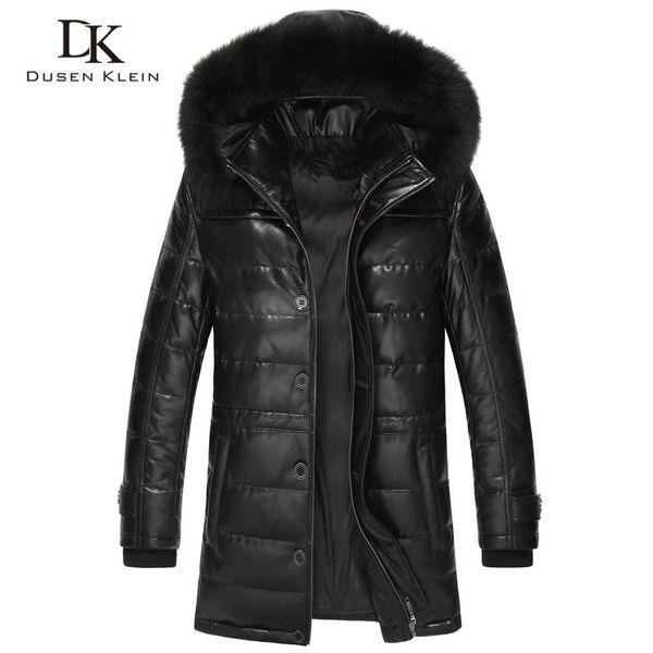 Dusen Brand long down coats men Real sheepskin 90% duck down Slim style fox collar winter leather jacket 61L1568