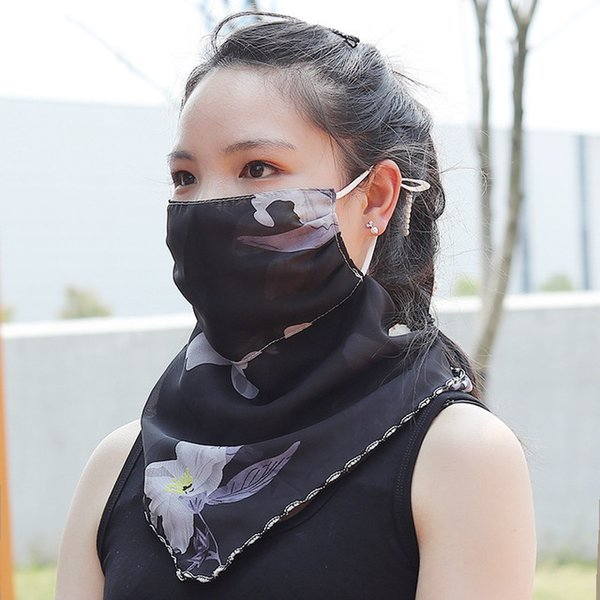 Suncreen Scarf Spring Summer Bib Large Mask Black Outdoor Travel Neck Breathable Hair Band Full Face Best Anti-UV Chiffon Thin Veil Bandana