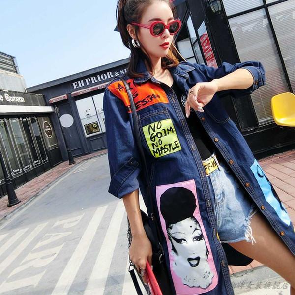 fashion streetwear ladies 2019 new personality print windbreaker patch long denim coat female autumn jeans jacket women f1395